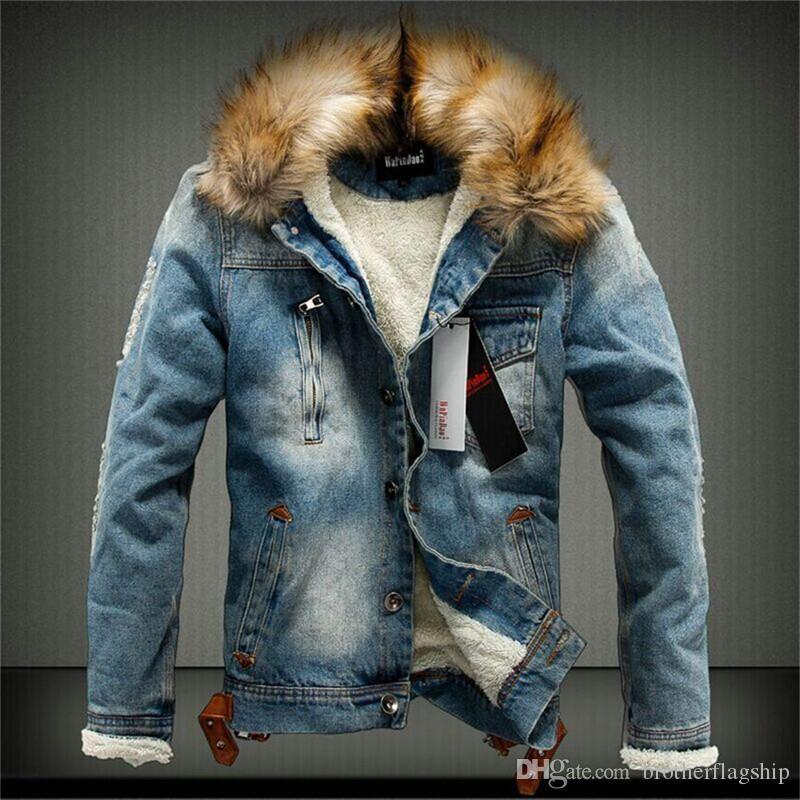 ... Caricamento dell immagine in corso Giubbotto-parka-da-uomo -invernale- con  Acquista 2018 New Collo Di Pelliccia Uomo Casual Giacca Di Jeans ...  ... 0617bf8866a