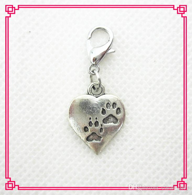 Hot vente / coeur chien patte dangle charmes fermoir de homard charmes bricolage bracelet pendentif suspendu charmes accessoires de bijoux bricolage