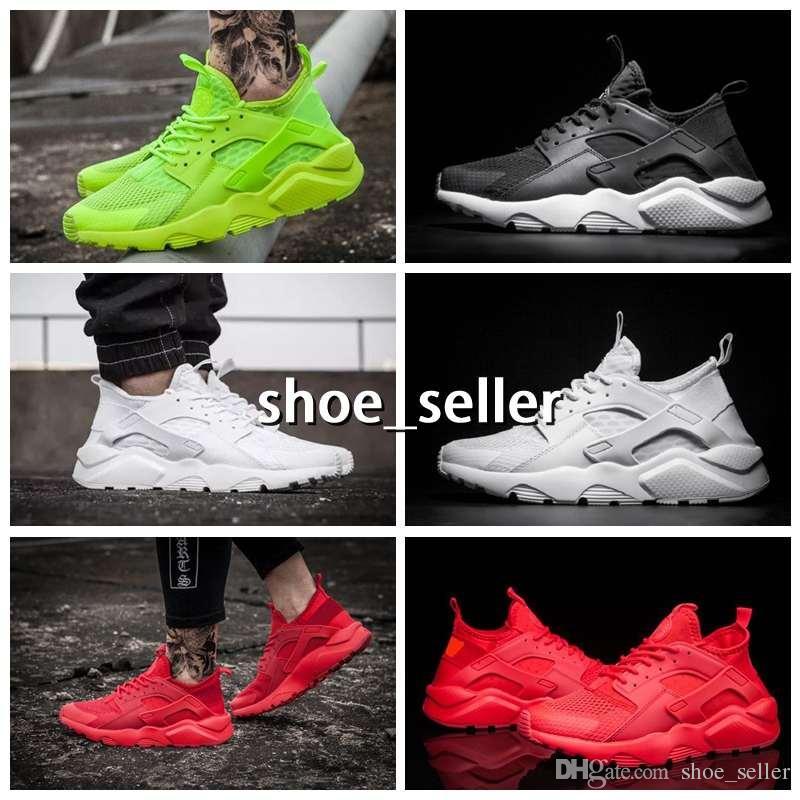 on sale 096d8 5a2d1 2018 Air Huarache 4 Men Women Running Shoes All White Huraches Ultra  Breathe Huaraches Mens Trainers Hurache Sports Sneakers Size 36-46 Running  Shoes ...
