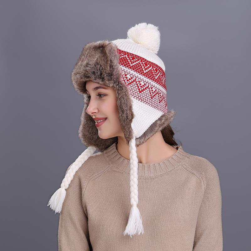 Kenancy Bomber Hat Women Winter Wool Snow Hats Pom Christmas Knitwer Trapper  Cap Fox Fur Earflaps Fleece Russian Ushanka Bomber Hats Cheap Bomber Hats  ... f07825710142