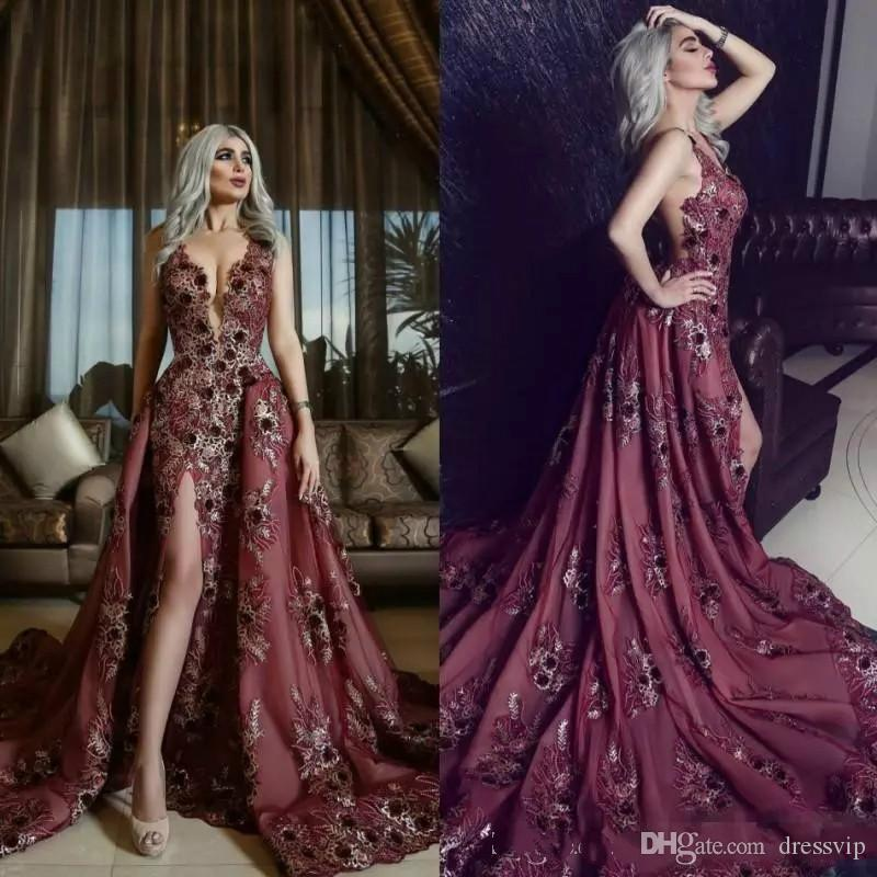 e6b3fdbc186 2018 Burgundy Evening Dresses With Detachable Skirt Lace 3D Floral Applique  Beaded Prom Dress Long Side Split Plus Size Formal Gowns Party Ladies  Clothing ...