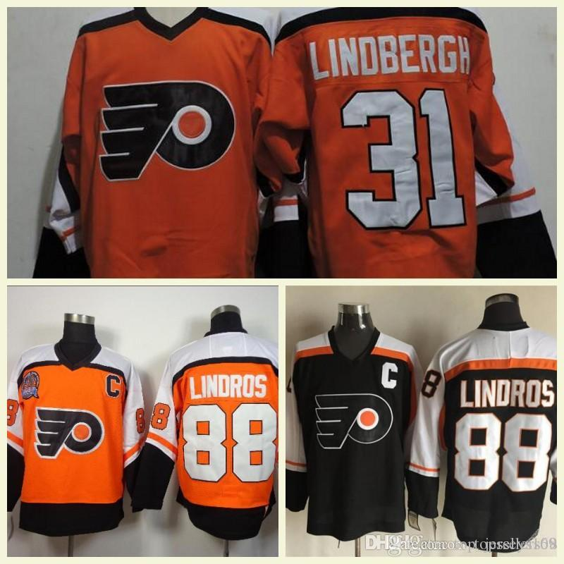 104b7b3d16f 2019 2018 Mens 88 Eric Lindros 28 Claude Giroux 31 Pelle Lindbergh Orange White  Black Vintage CCM Retro Stitched Ice Hockey Jerseys From Top jerseys168