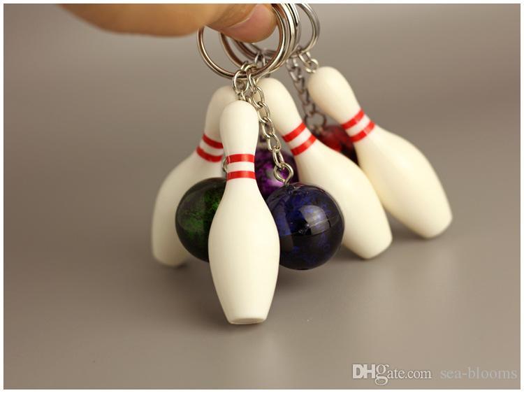Bowling Metal Keychain Car Key Chain Key Ring Sports Hot Sale Keyring Bowling Color Pendant Keychain 4 Styles Fashion Gift Free DHL G261Q