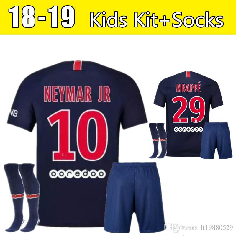 0ad4f0d5a 18 19 FC Paris Saint Germain Jersey PSG Soccer Kids Kit+Socks 7 MBAPPE 9  CAVANI 6 VERRATTI 11 DI MARIA SILVA Shirt Kits Soccer Jersey Online with ...