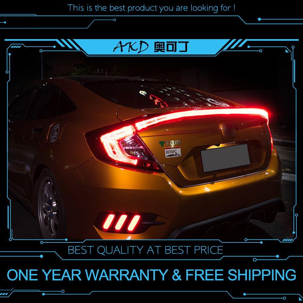 Nice AKD Tuning Cars Tail Lights For Honda CIVIC X G10 2015 2018 Taillights LED  DRL Running Lights Fog Lights Angel Eyes Rear Parking