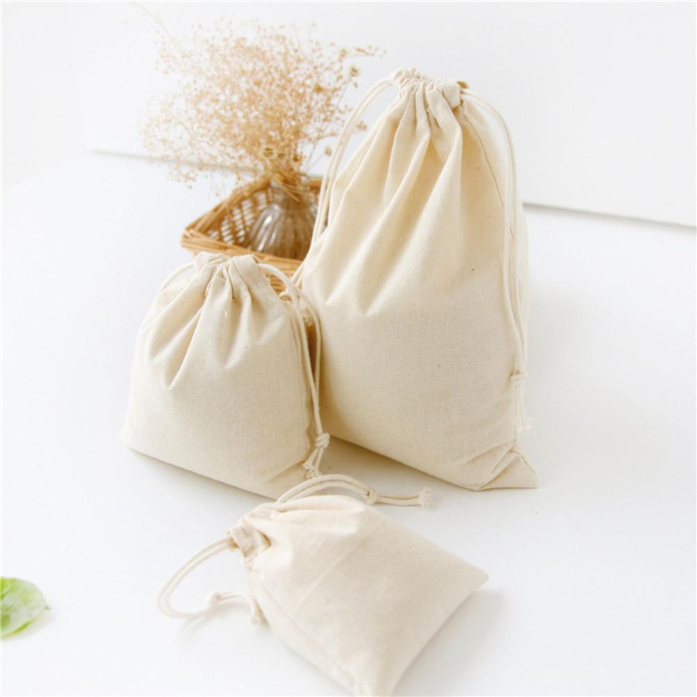 1 قطعة بلون القطن الكتان الجوت هدية أكياس الحلوى أكياس الزفاف الإحسان الحقيبة الرباط حقيبة تغليف المجوهرات