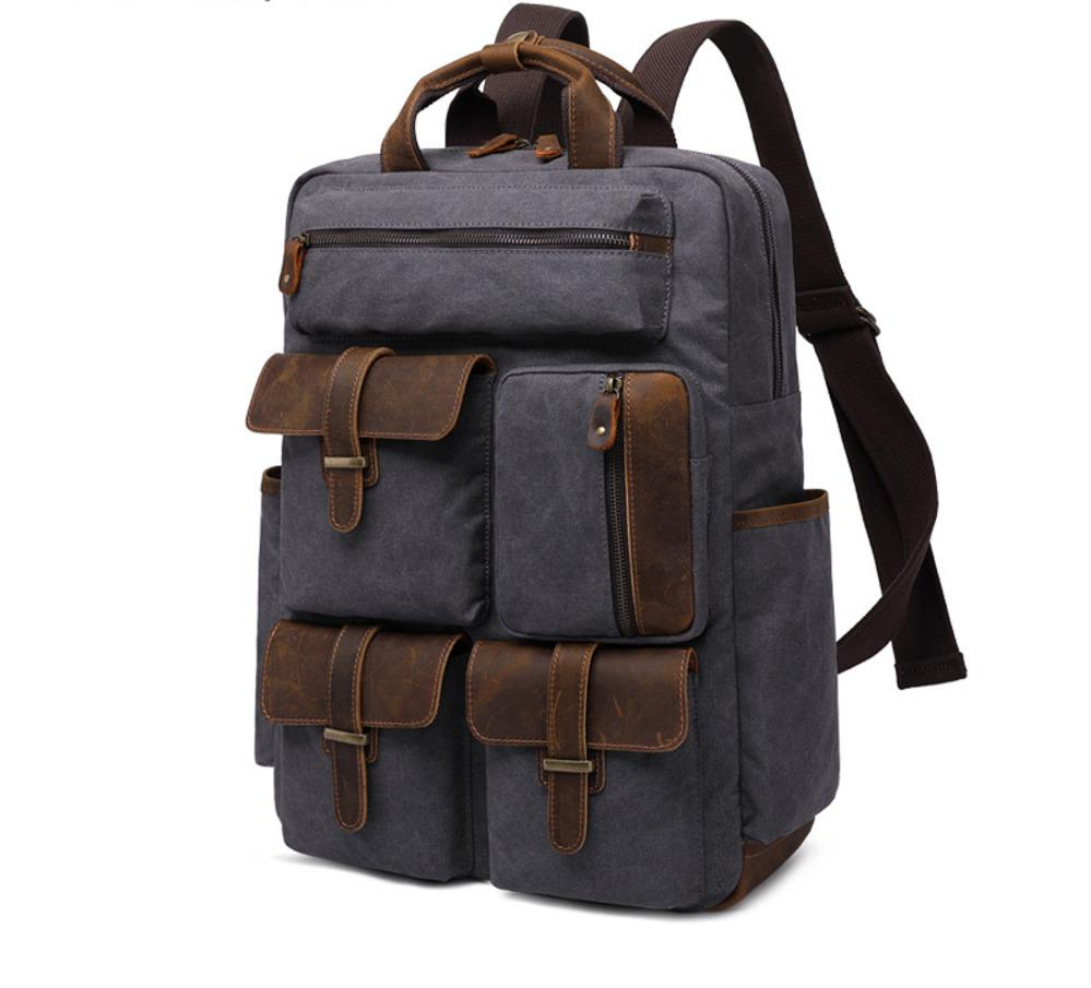 b7c62defb5 2019 15.6 Inch Laptop Leather Canvas Backpack Unisex Vintage Casual Rucksack  School College Bags Satchel Bookbag Hiking Travel Rucksack From Fgfq