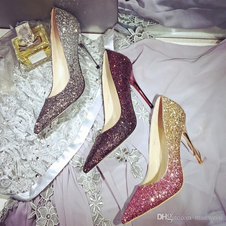 4ea2d92068b92 Sparkly Sequins Bridal Shoes Blingbling Wedding Shoe High Heel Party Prom  Women Shoes Wed Bridesmaid Shoes Black Gold Burgundy White Lace Wedding  Shoes ...