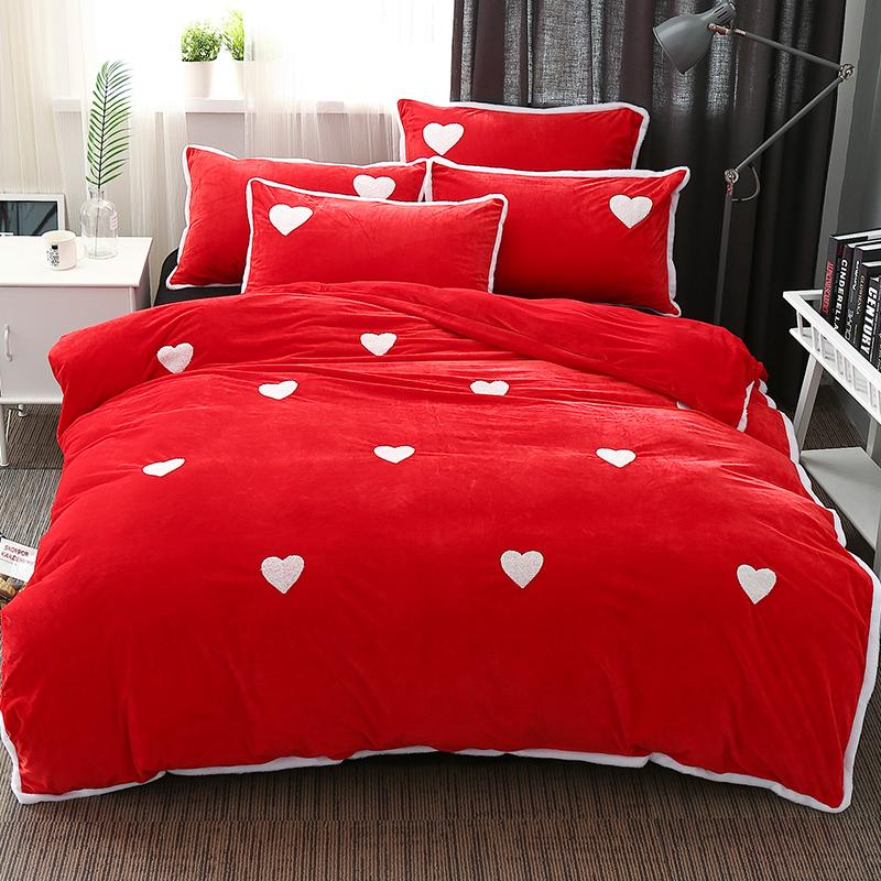 Captivating Witer Warm Duvet Cover Set Fleece Fabric Bedding Sets Include Duvet Cover  Pillowcase Heart Pattern Bed Sheet Heart Bed Sheets Bed Sheet Duvet Cover  Set ...