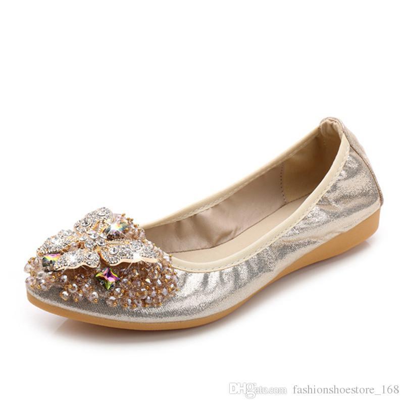 007998bff Compre 2018 Marca Mulheres Apontou Toe Flats Loafers Moda Ballet Flats  Senhoras Rhinestone Lolita Sapatos Baixos Prata Preta Sapatos Para As  Mulheres ...