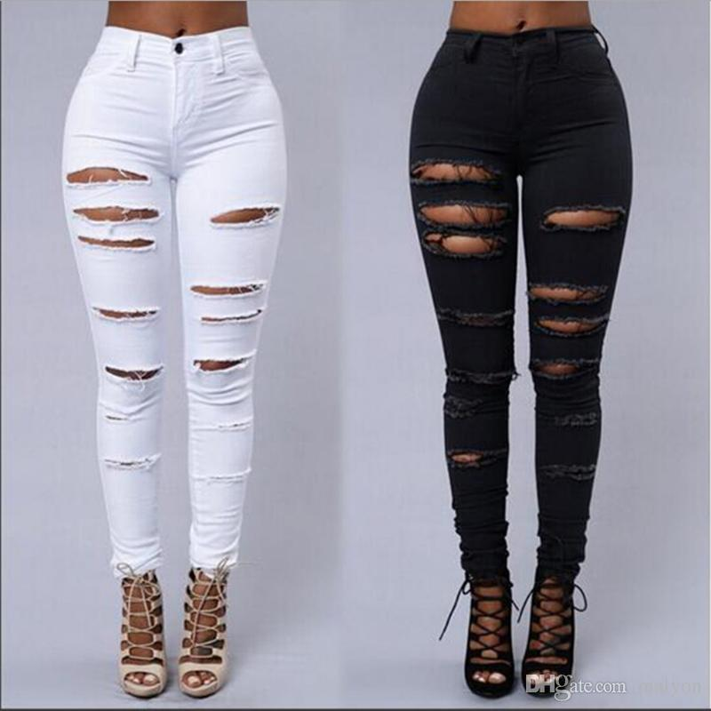 00f1660207 2019 Wholesale Destroyed Hole Hot Sexy Super Tight Pants Distressed Black  White Ripped Jeans Women High Waist Skinny Stretch From Malyon