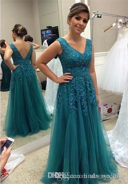 compre 2019 vestidos para madre de la novia aqua a line v cuello