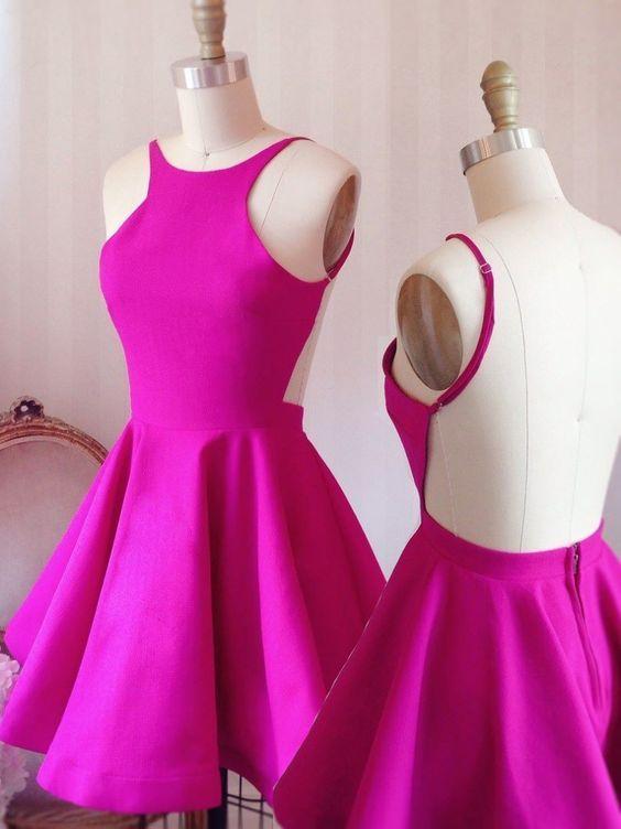 849c05972243 Crew Neckline Short Fuchsia Homecoming Dress Low Back Knee Lenght Party  Dress Modest Homecoming Dress One Strap Homecoming Dresses From  Fuchisabridal, ...