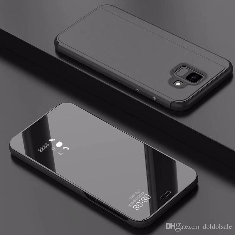 save off dc34f 1cb21 50pcs Luxury Mirror Clear View Case for Samsung Galaxy A6 A6 Plus J3 J4 J6  J7 J8 2018 J7 Duo Phone Cover Plating Base Vertical Stand