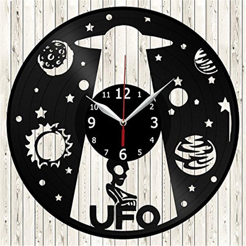 Spacecraft Ufo Vinyl Wall Clock Modern Home Decor Crafts Creative Handmade  Gift Office Wall Art Simple Decor Living Room Quartz Clock Pendulum Wall  Clock ...