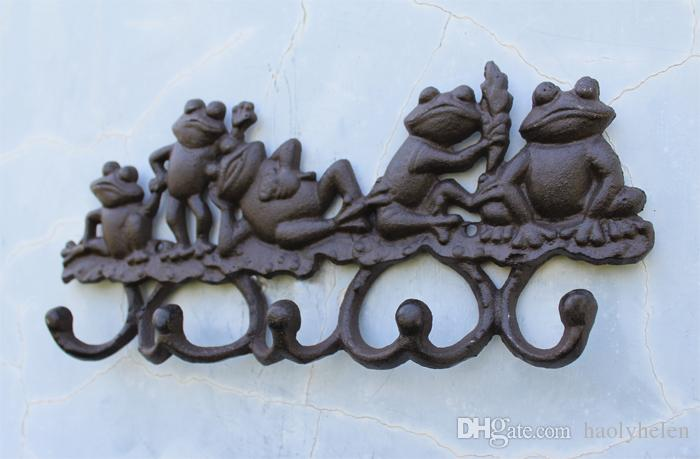 Cast Iron Decorative 5 Lovely frogs Coat Rack with 5 Hooks Key Hanger Holder Hanging Garden Porch Cabin Lodge Wall Mounted Decor
