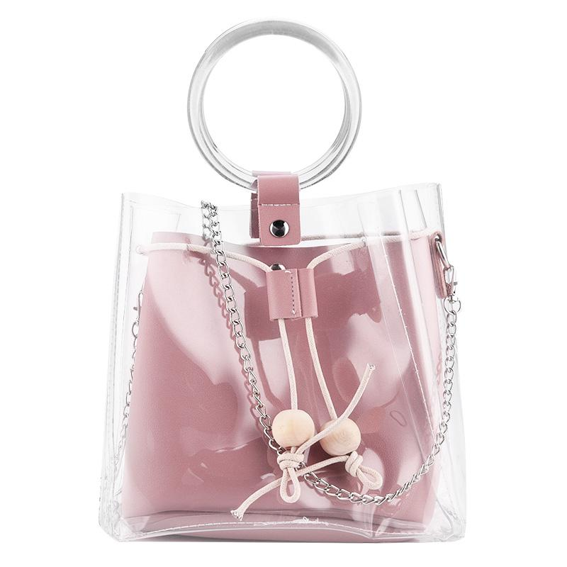 Women Clear Transparent Plastic Bag Drawstring Girls Cute Composite Wristlets Female Handbags PU Leather Chain Crossbody Bags 45