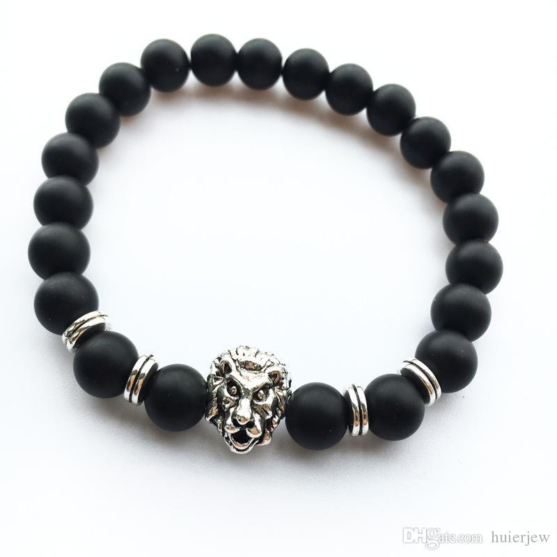 Bracciali da uomo Gioielli di lusso Bracciale con perle di pietra opaco elefante testa di leopardo testa di leone gufo tartaruga Lava Charm Bracciali