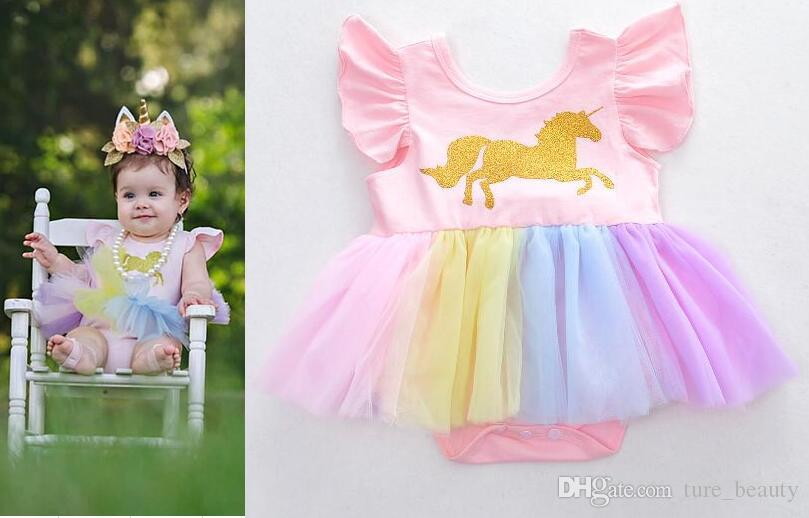 575d44cc13a7 2019  Baby Girls Unicorn Printed Romper Unicom Cheadband Rainbow Horse Dress  Children Lace TuTu Jumpsuits 2018 New Kids Clothing From Ture beauty