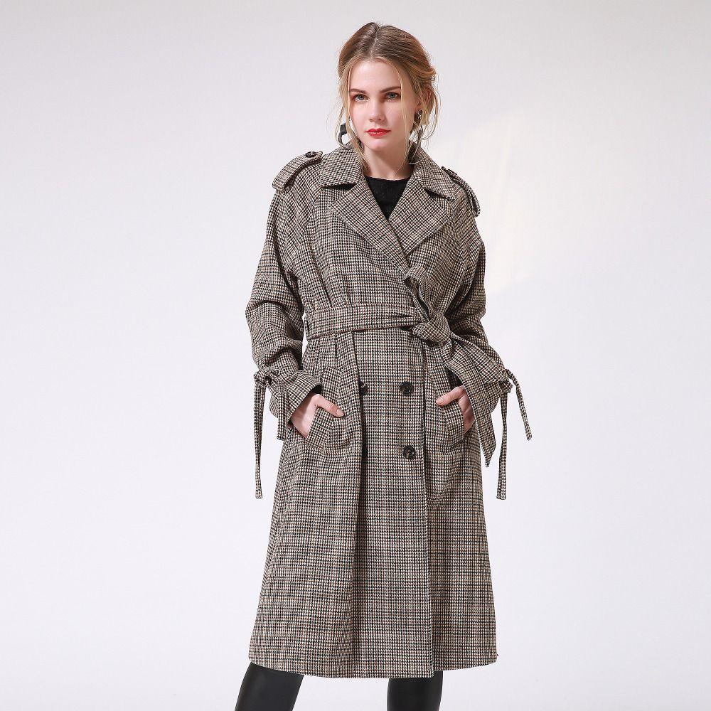 c93391be4c49 Winter Frauen Trenchcoats Elegante Vintage Plaid Dick Woolen Warme  Weibliche Lange Mantel Casual Damen Herbst Outwear Mäntel Talever