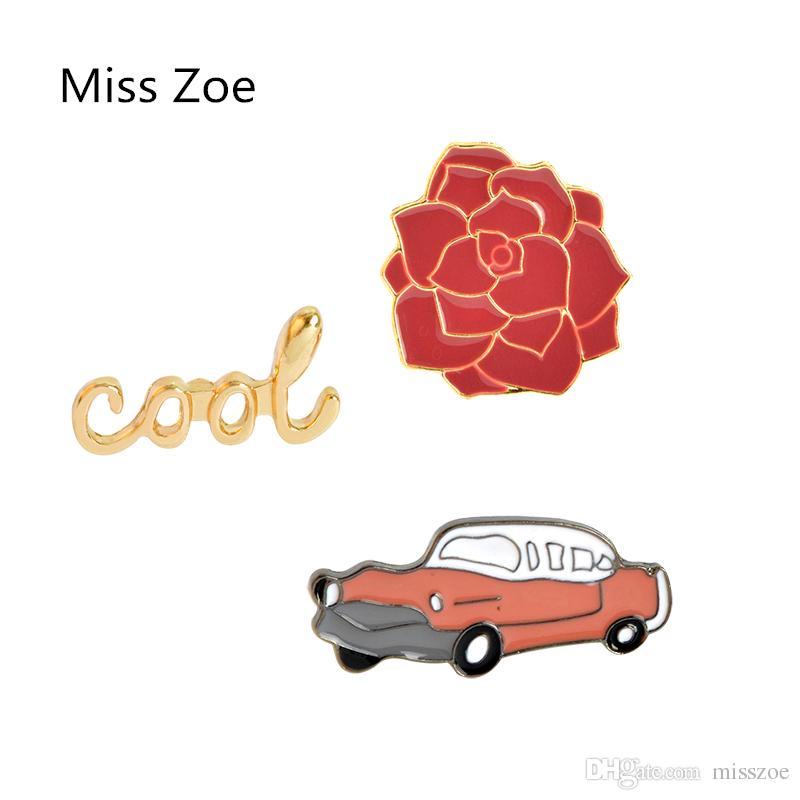 Vintage Enamel Pin Button Lapel Pin Car Automobile Blue and