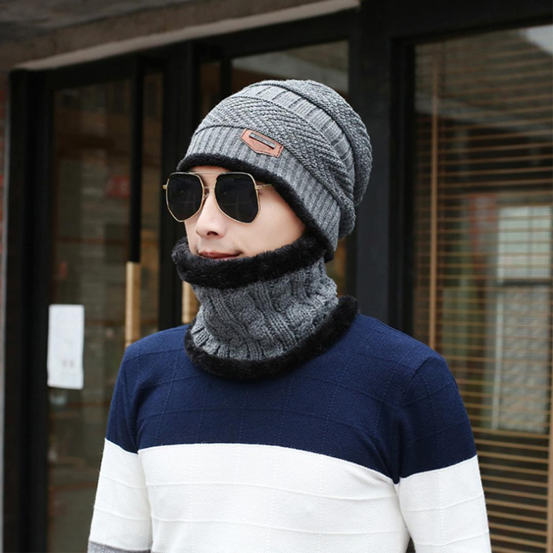 4beb2d1a82a 2019 Hiking Caps Hat Knit Hat+Bib Unisex For Men Women Fashion Stretch  Cable Knit Lined Thick Warm Winter Wool Slouchy Beanie Cap From  Newhappyness