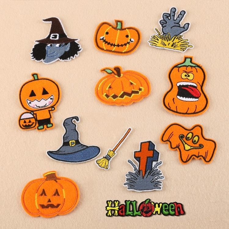 Acquista ricamo halloween patch patch giallo ferro su