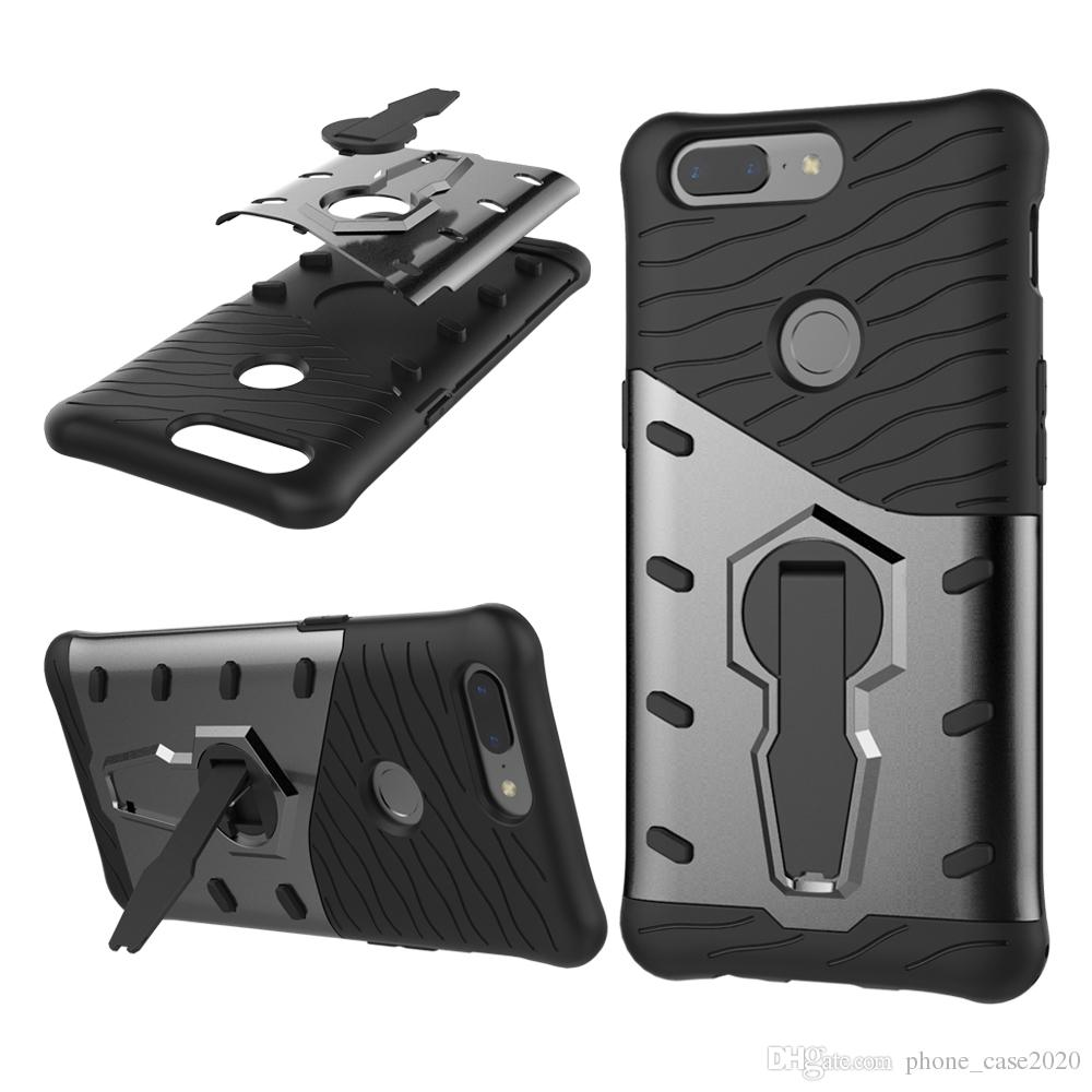 Slim 2in1 Hybrid Dual Layer Kickstand Stand Armor Case para Oneplus 5T One Plus 6 Oneplus 5 3 3T
