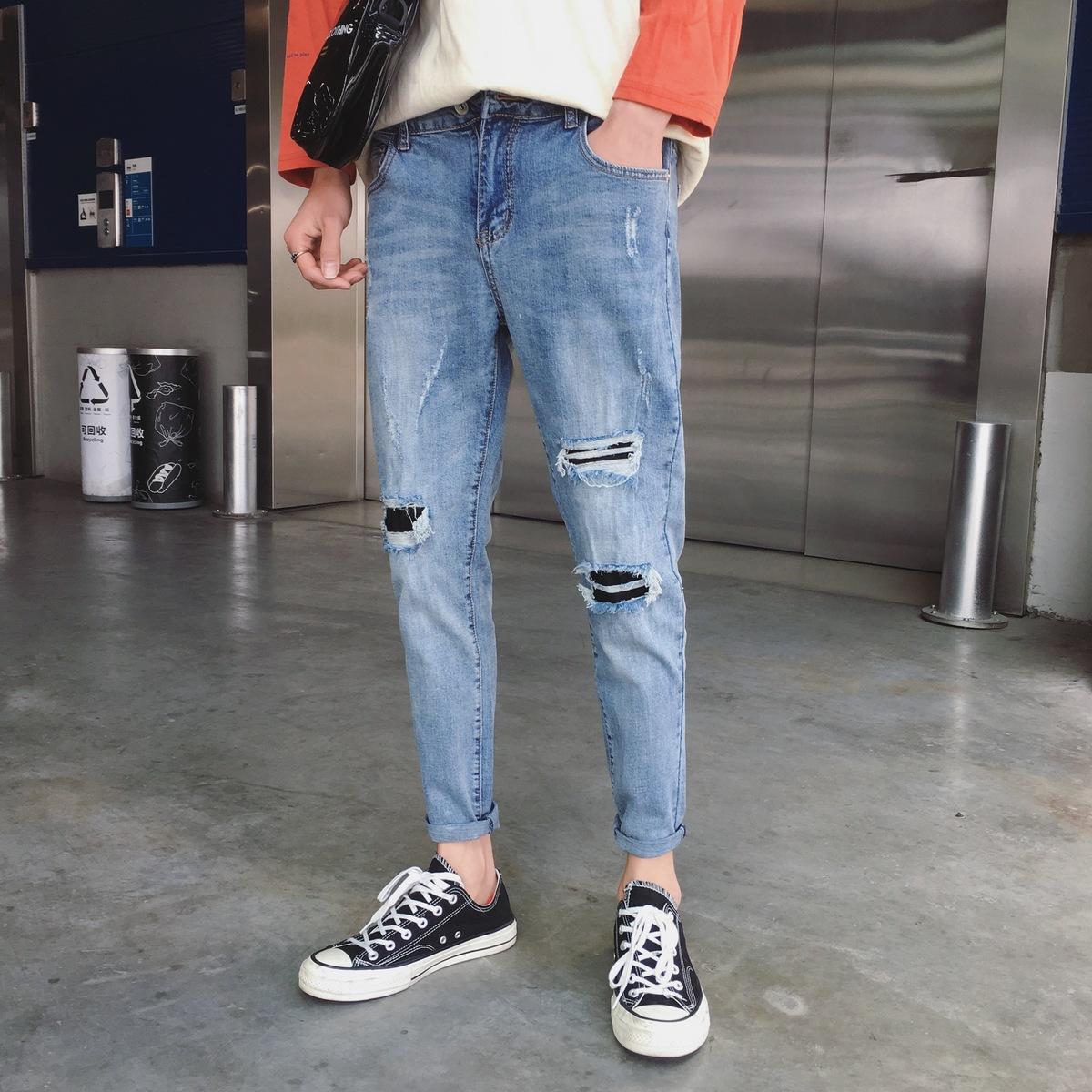 Compre 2018 Nuevos Hombres Coreanos Moda Casual Clásico Color Azul Agujeros  Hasta El Tobillo Pantalones Vaqueros Tide Stretch Slim Fit Jeans Pantalones  ... 3dd0396a647