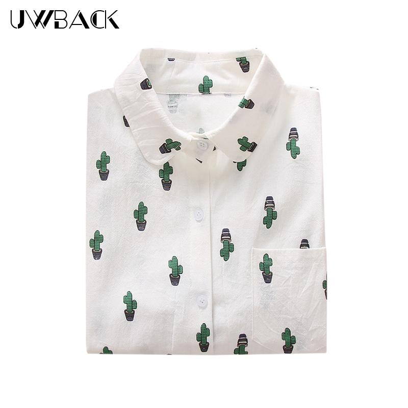 dfa208d4 2019 Uwback New Women White Cartoon Shirts 2018 New Novelty Cute Dog Cactus  Print Shirt With Pockets Women Top Blouses, EB091 From Derricky, $21.8    DHgate.
