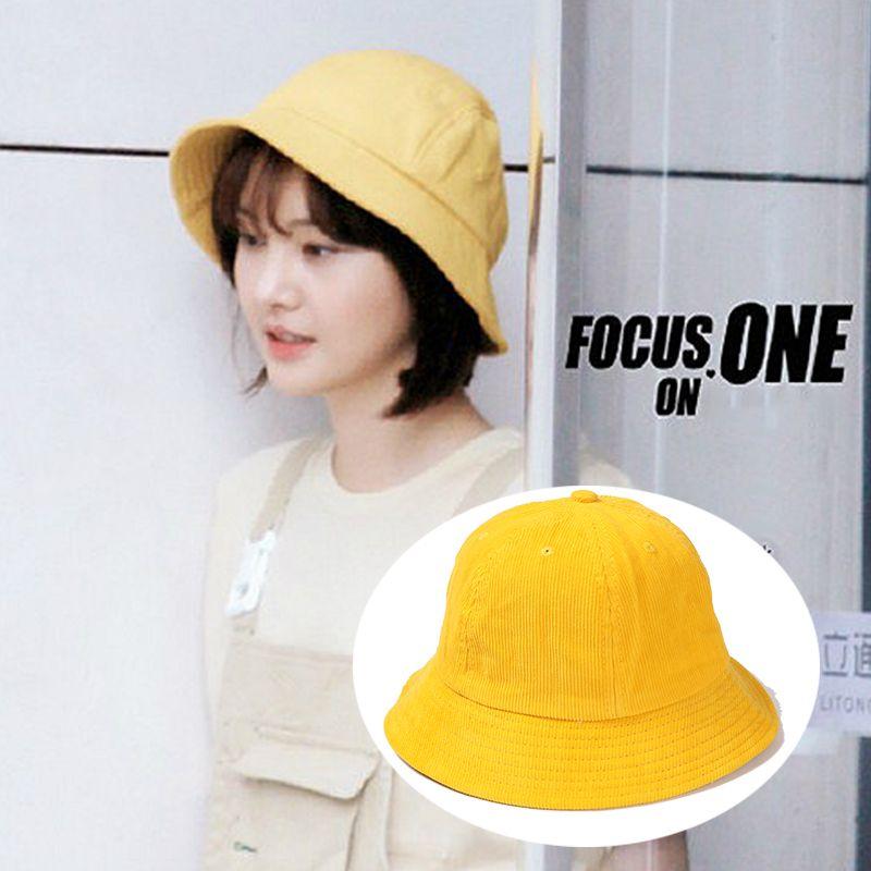 09479c3b 2018 Soild Yellow Cotton Bucket Hat For Women Girl Summer Kawaii Fisherman  Hat Fashionable Japanese Sun And Caps Wholesale Stetson Hats Cowboy Hats  From ...