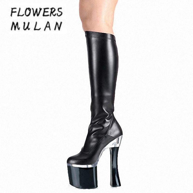 8913dc51d31 18CM Thick Heel Patent Leather Long Boots Women Platform Slim Leg Strange  Heel Botas Sexy Model Pole Dance Shoes Fashion Show Mens Chelsea Boots Black  ...