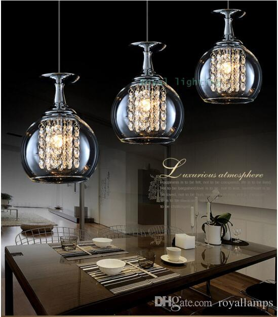Bar Glass Cup Lamp Crystal Pendant Lights Dining Room Led