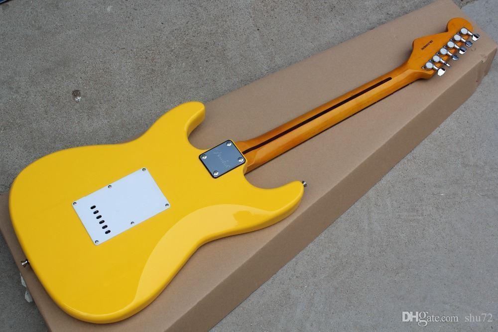 Frete Grátis China Custom Guitar novo creme amarelo ST Guitarra Elétrica 2015 8