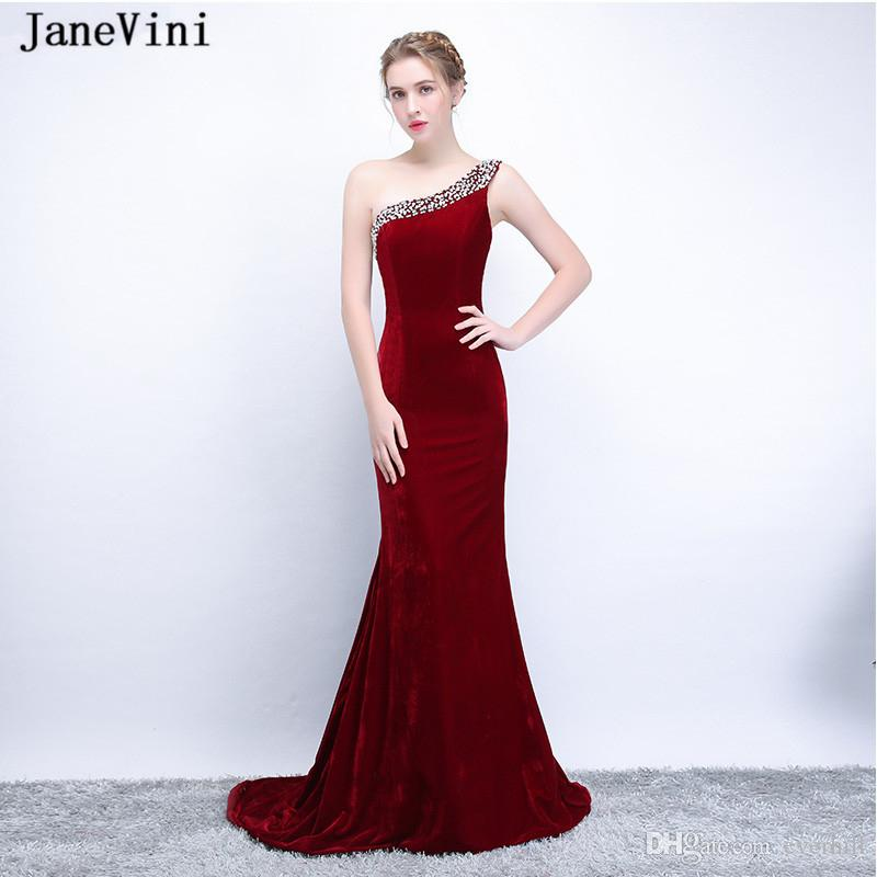 e7437214eb4 JaneVini Lebanon One Shoulder Evening Dresses Long Burgundy Velvet Mermaid  Beaded Women Formal Evening Gowns Sweep Train Party Dress 2018 Large Size  Evening ...