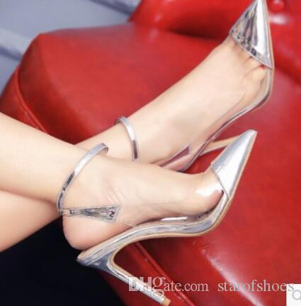 2020 Yeni Bahar Kadınlar ince topuk elbise ayakkabı basit tarzı Sivri Yüksek topuklu ayakkabılar Kadın Tek Yüksek Topuklar PVC ayakkabı pompaları