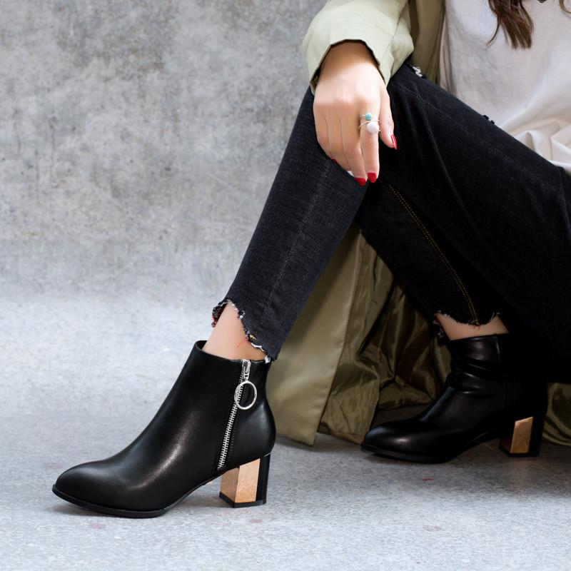 3f9aa4bb51979 YMECHIC Autumn Women Ankle Boots Black Zipper Office Block Heel Shoes Woman  Botines Mujer 2018 Plus Size High Heels Bootie 43 Sporto Boots Boys Boots  From ...