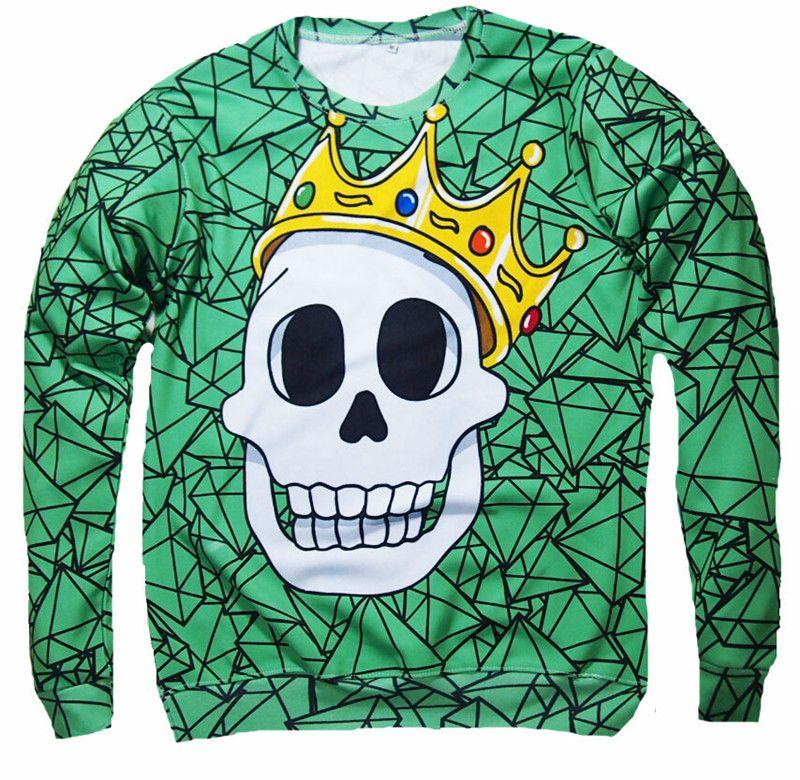 Custom Design Couple women men skull 3d digital printing logn sleeve pullover tracksuit hoodies sweatshirt