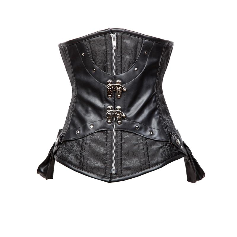 3bf01f27f1b 2019 Steampunk Underbust Corselet Bustier Sexy Women Gothic Corsets  Steampunk Rivet Black Bone Retro Party Corset Top Espartilho Tops Plus Size  From ...