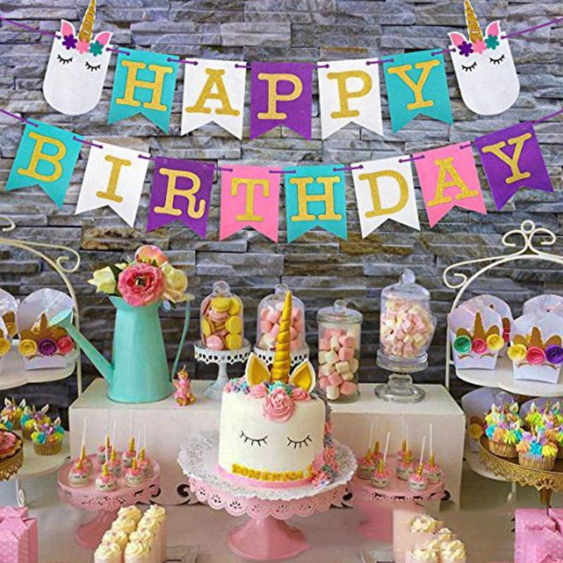 Compre Feliz Aniversário Bunting Banner Tema Unicórnio Colorido