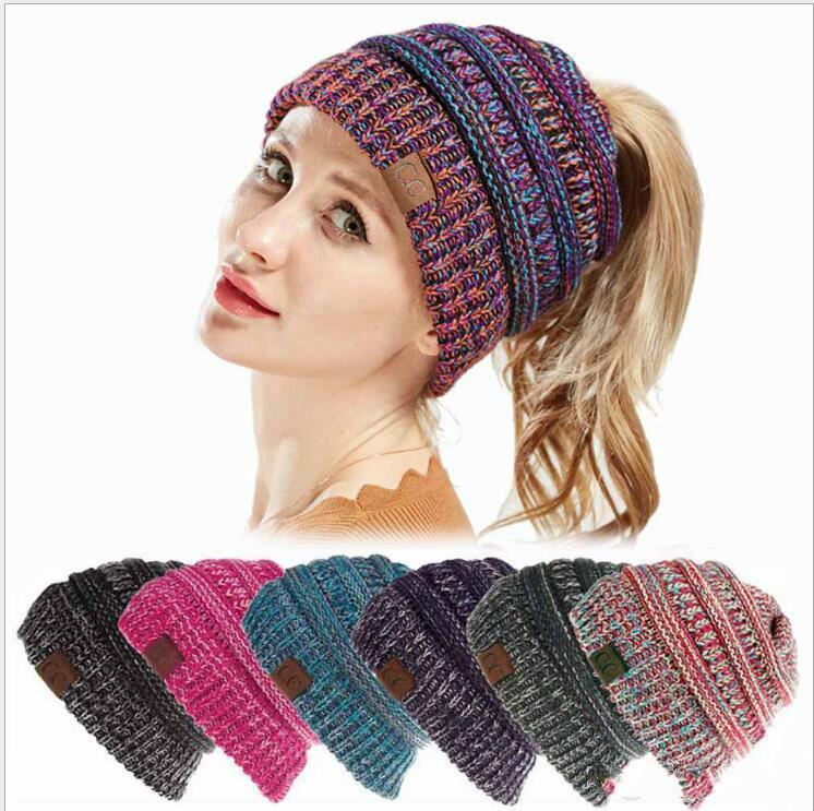 2018 Hot Sales Cc Ponytail Beanie Women Crochet Winter Beanie
