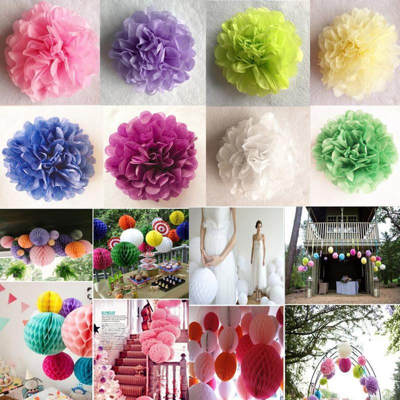 6 15cm Diy Tissue Paper Flower Lanterns Honeycomb Ball Pompom For Home Garden Wedding Birthday Wedding Decoration Baby Shower