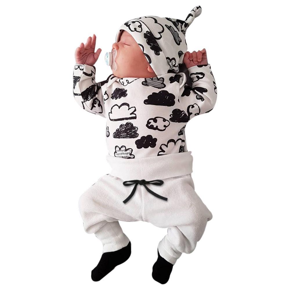 092b26713f2c6 Acheter Automne Vêtements Pour Enfants Vêtements Pour Bébés Vêtements De  Naissance Pour Nouveau Né Infant Bébé Garçon Fille Nuage Imprimer T Shirt  Tops + ...