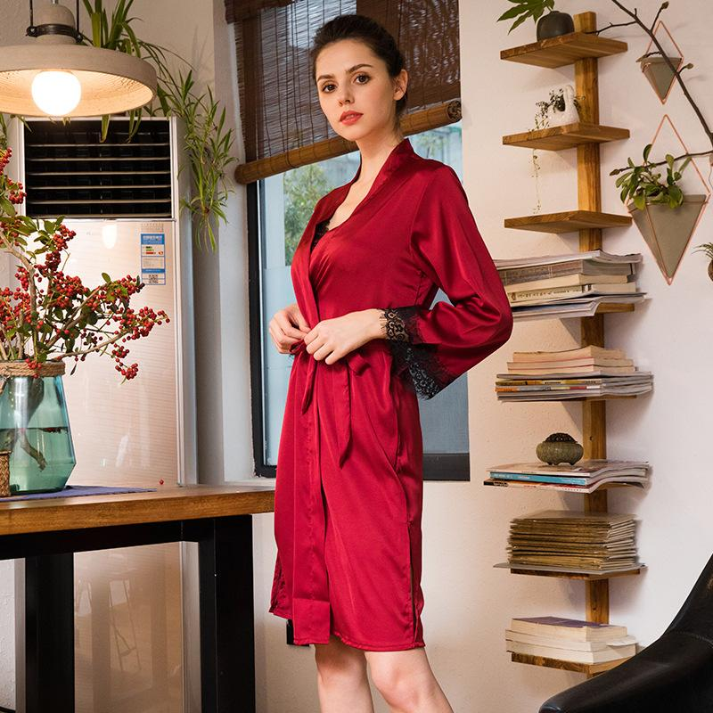 2fd71b4f6ac6 2019 Nightgown Set Nightgown Robe Set Robe Sets Womens Silk Pajamas Luxury  Nightgowns Suit Women 8630 From Sincha
