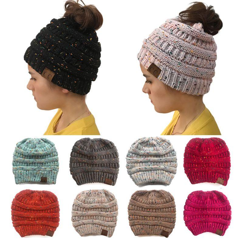REALSISHOW Winter Ponytail Beanie Hat for Women Warm Knit Ladies Cap ... 6876dd702a8