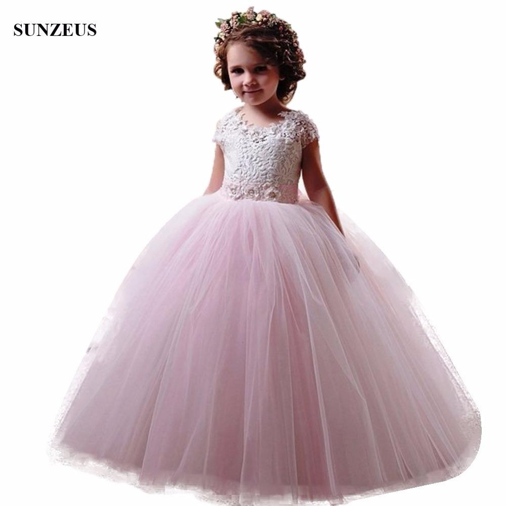Ball Gown Cap Sleeve Lace Flower Girl Dress Pink Ivory Long Tulle