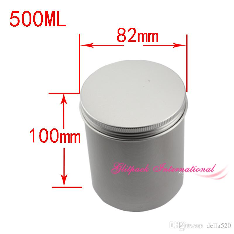 Jar Vela Cilindro de aluminio 500ml Empty Round Pot Bottle 17oz 500g Tornillo de gran tamaño Top Steel Tin Cans Cilindro de almacenamiento para polvo