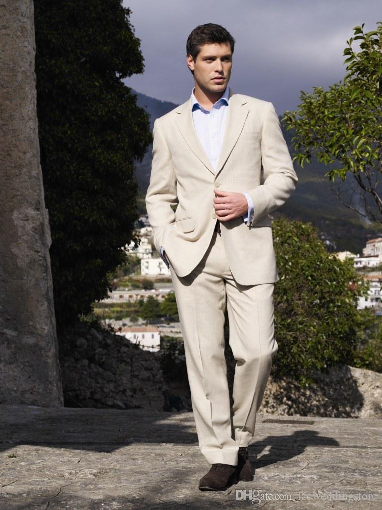 Men Suits Ivory Linen Latest Coat Pant Designs Casual Men Suit Blazer Tailored Tuxedo Slim Fit Prom Terno Masculino Jacket+Pants