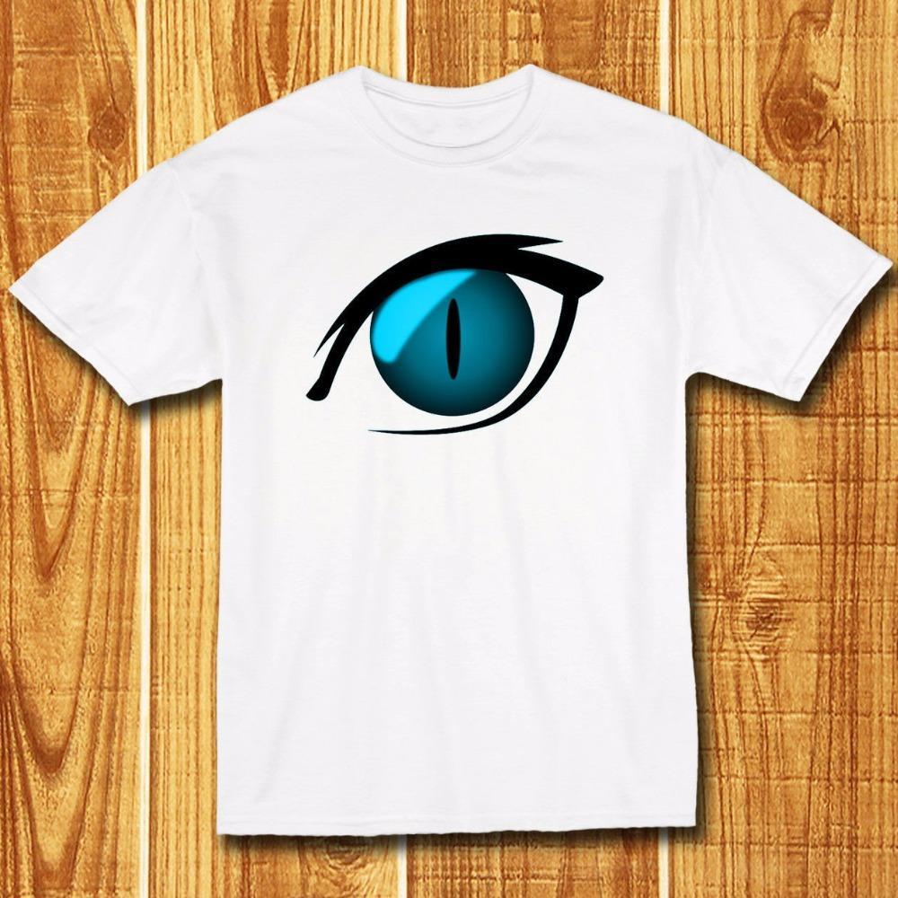 Compre Estilo De Verano Camisas De Moda Cuello Redondo Anime Ojo De Gato  Azul De Dibujos Animados Para Hombre De Diseño Blanco Camiseta Corta Camisetas  De ... c53972fae8762
