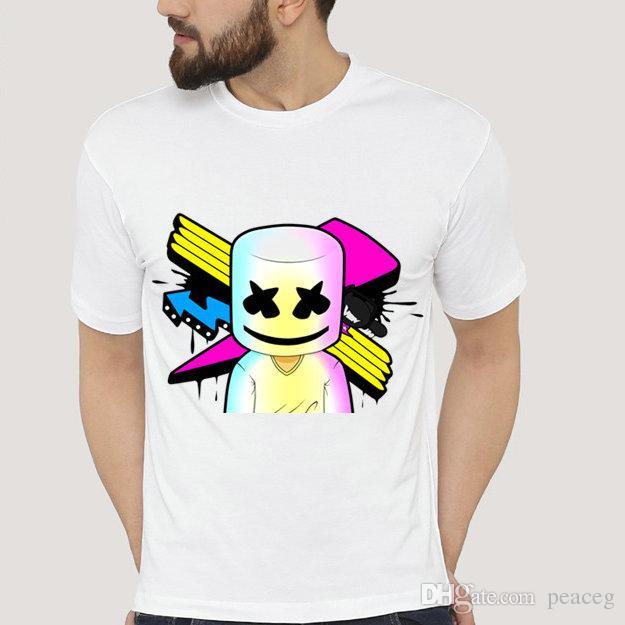57b6ca5376e Marshmello T Shirt Cool DJ Short Sleeve Color Mask Tees Leisure Unisex  Clothing Pure Color Modal Tshirt Really Funny Shirts Clothes T Shirt From  Peaceg
